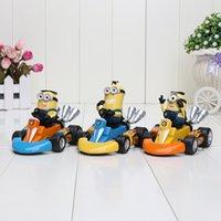 8*12cm Despicable me 3 Minions karting cars PVC Action Figur...
