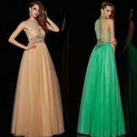 2015 Sheer Lace A- Line Prom Dresses with Sparkling Beading I...