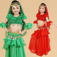 Girls Belly Dance Costume Outfit Top Skirt Children' s I...