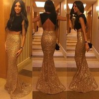 Two Pieces Prom Dresses 2015 Black Top High Neck Backless Ev...