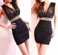 2015 Mermaid Sequin Party Dresses Deep V- Neck Little Black C...