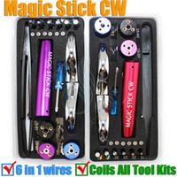 outil de bobine pré RDA Magic Stick CW maître boîte kit vaporisateur de gabarit 6 en 1 fil kit machine enrouleuse de koiler mèche e mods de cigarettes électroniques bricolage boîte à outils