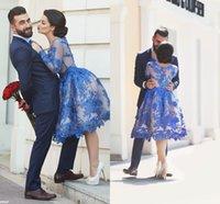 2016 г. Новые дешевые Короткие кружевные коктейльные платья с длинными рукавами линия Мини Sexy Royal Blue Пром арабский Pageant партии Женщина Случай мантий 2015