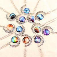 12 Colors Gem Necklaces Vintage moon necklace Starry Outer s...