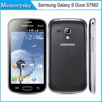 Original restaurada teléfono celular Samsung Galaxy S Duos S7562 5MP la cámara del wifi 3G GPS androide 4.0 de SIM dual teléfono inteligente en blanco y negro 002875