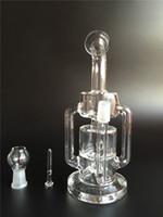Double bras Recycler bongs en verre Vapeur Pipe Spiral Rig avec tête de douche travaillée Marble Accent avec 14,5mm Joint Livraison gratuite