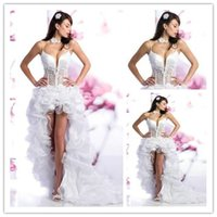 Short Corset Wedding Dresses White Organza Spaghetti Straps ...