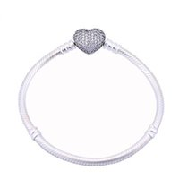 925 Bracelet plaqué argent Chaîne Serpent avec Fermoir Barrel Fit Perles Européennes Pour Pandora Bracelets Sans Logo DIY