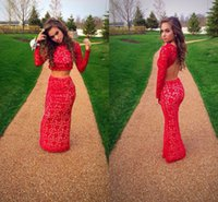 2016 Two Pieces Prom Dresses Sexy Mermaid Backless Long Slee...