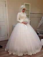 Muslim Vintage Ball Gown Wedding Dress 2016 Long Sleeves Hig...