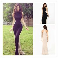 New 2015 Elegant Evening Dresses Long Black and Ivory Bateau...