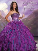 Wonderful 2015 Purplish Cerise Turquoise Organza Ruffled Bal...