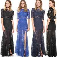 2015 New Black Lace Evening Dresses with Half Sleeve Sexy Ba...