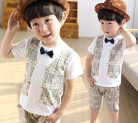 Boys Clothes 2015 Summer Kids Clothing Cotton Sets Cute Plai...