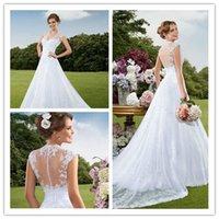 2015 Wedding Dresses Sheer Wedding Dress Spring Illusion Nec...
