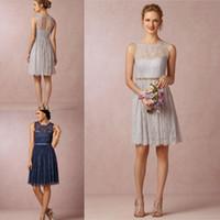 Celia Silver Grey шнурка невесты платья 2015 Jewel рукавов длиной до колен Кихол Назад синий Короткие свадебные платья Часть выпускного платья