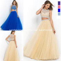 2014 Two Pieces Ball Prom Dresses 2015 Cheap Royal Blue Navy...