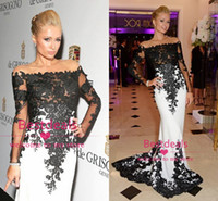 Sheer Long Sleeve Black Lace White Mermaid Evening Dresses 2...