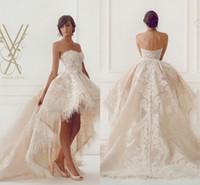 High Quality Feather 2016 Lace Wedding Dresses Hi- lo Appliqu...