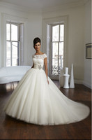 Captivating 2015 Princess Ball Gown Short Sleeves Lace Boat ...