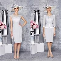 John Charles Lace Mother Bride Dresses Sheer Scoop 1 2 Sleev...