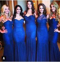 2016 Royal Blue невесты платья Sexy Русалка Милая Pleats Ruched этаж Длина свадьба платья вечерние платья BO9196