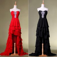 Elegant Sexy Party Crystals Chiffon Prom Dresses Red Black H...