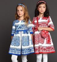 2015 Autumn Wlmonsoon Brand Girls Dresse Flower Print Pure C...