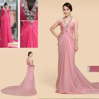 Blush Pink Chiffon Evening Gowns 2015 Cheap Halter Strap Fas...