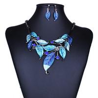 Vente en gros-2015 Bijoux fantaisie chaude de mode ensembles chaîne de cristal ensembles de bijoux vintage femmes colliers boucles d'oreilles pendentif collier déclaration feuille d'arbre