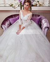 2016 Gorgeous noiva Lace Ball Gown Wedding Dresses 3 4 Long ...