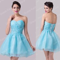Grace Karin Sexy Fashion APPLIQUE GLINT Blue Cocktail Dresse...