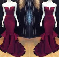 Новый Бургундия Русалка Вечерние платья реального изображения 2015-2016 Sexy Back Полная длина выпускного платья партии элегантной одежды BO8278 Пользовательские Бесплатная доставка