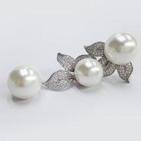 925 pendentif en argent pendentif de mariage bijoux cadeau de Noël CZ blanc avec perle bijoux pour les bijoux de mode de partie SET80112P