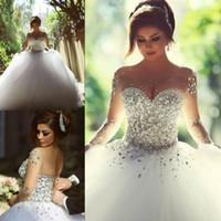 2016 с длинным рукавом свадебные платья с кристаллами Стразы бальное платье Major Бисероплетение Backless Элегантный арабский Дубай Свадебные платья Саида Mhamad