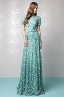 Luxury Appliqued Evening Dresses Scoop Short Sleeves Prom Go...