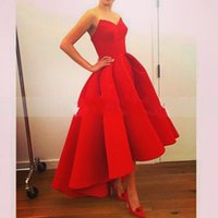 Red Elegant Simple Evening Dresses A Line Sweetheart Sleevel...