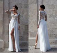 New Vestidos De Noiva Long Sleeves A Line Wedding Dresses Se...