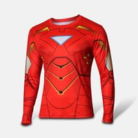 2015 new men t shirt superman Iron Man long sleeve t- shirt m...