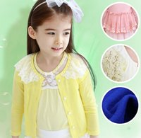 Girls Lace Floral Cotton Knits Girl Bowknot Tulle Cardigan K...