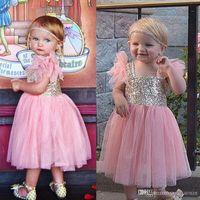 Bling Sequins Cute Flower Girls Dresses 2016 Pink Tulle Tea ...