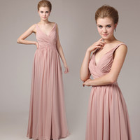 Blush Pink Chiffon Bridesmaid Dresses For Maid of Honor Wedd...