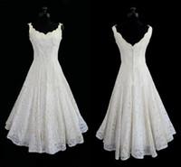 Best Selling Simple Bridesmaid Dresses A- Line V Neck Tea Len...
