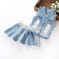 2015 NEW ARRIVAL baby girl kids 2piece set outfits Denim Lac...