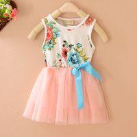 baby girl kids lace dress vintage flower tutu dress floral t...