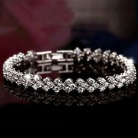New Style Luxurious Roman Crystal Tennis Bracelet 925 Sterli...