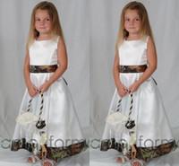 Лодыжки длина Camo Цветочные платья для девочек для свадебных Stain Экипаж линии Симпатичные участниц Платья для девочек 2016