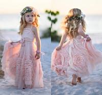 Beautiful Flower Girls Dresses Lace Applique Spaghetti Sleev...