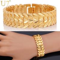U7 romantique Bracelet coeur amoureux des bijoux Platinum / 18K réel plaqué or Wristband Carving Cadeau parfait 10MM 20 CM Chain Bracelet