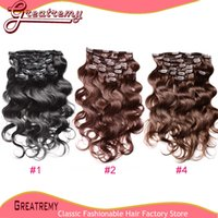 Cheap Brazilian Body Wave Clip In Hair Extensions #1#2#4 Rem...